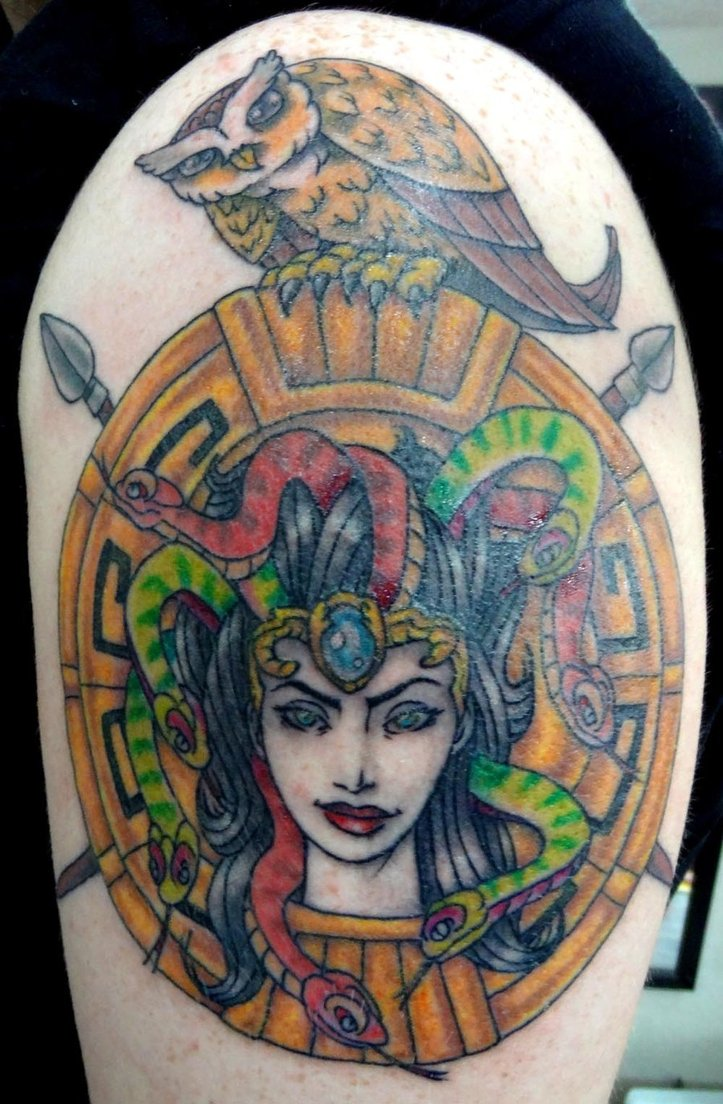 Colorful Medusa And Owl Tattoo On Shoulder