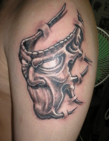 Cool 3D Mask Tattoo On Shoulder For Men