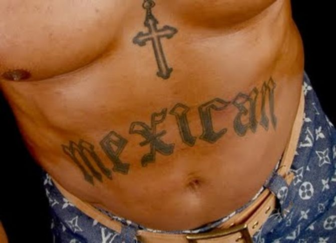Cross And Mexican Text Tattoo On Stomach For Men