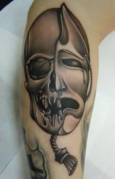 Crying Skull Mask Tattoo Design