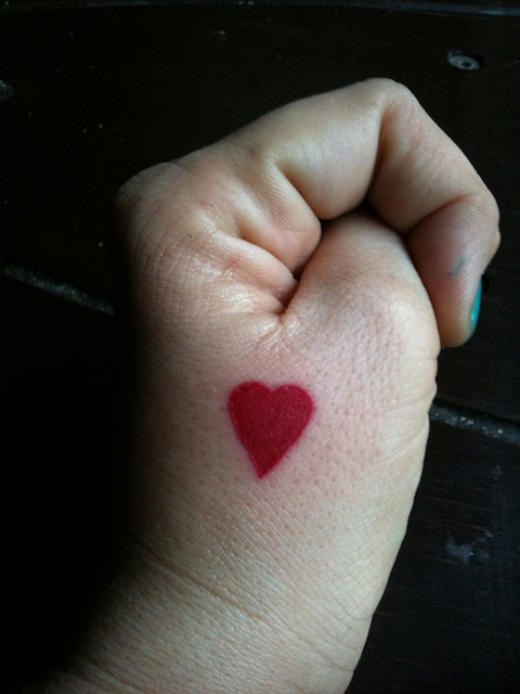 Cute Love Heart Tattoo On Hand