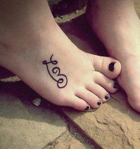 Cute Love Tattoo On Foot