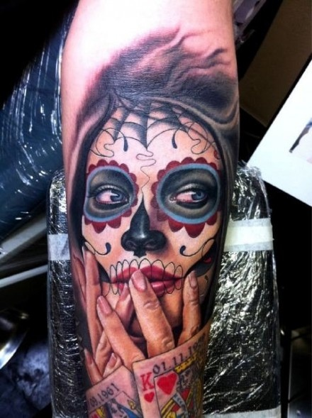 Day Of The Dead Mexican Woman Tattoo On Arm