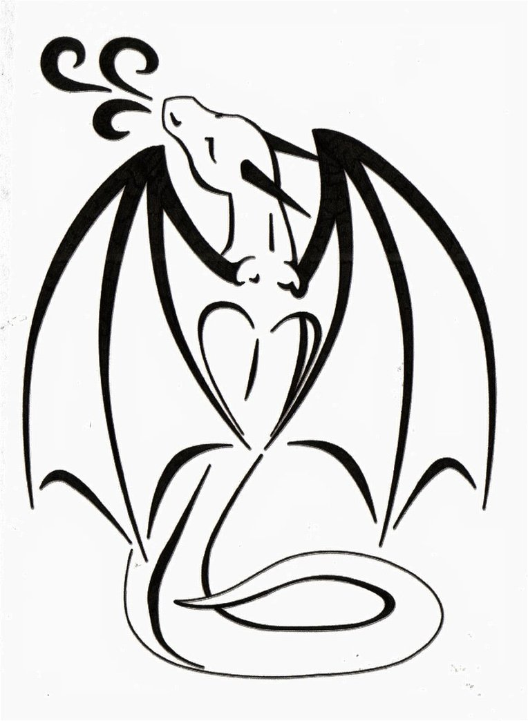 Dragon Love Tattoo Stencil