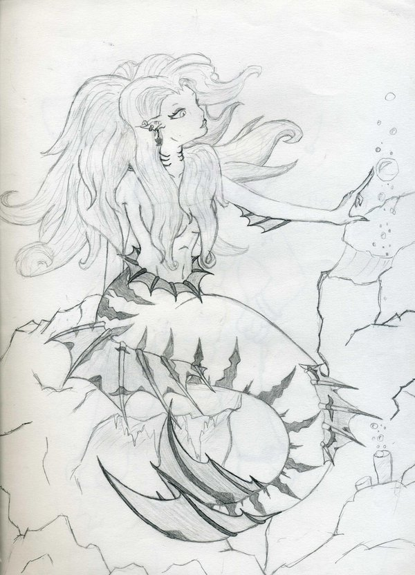 Evil Mermaid Tattoo Drawing