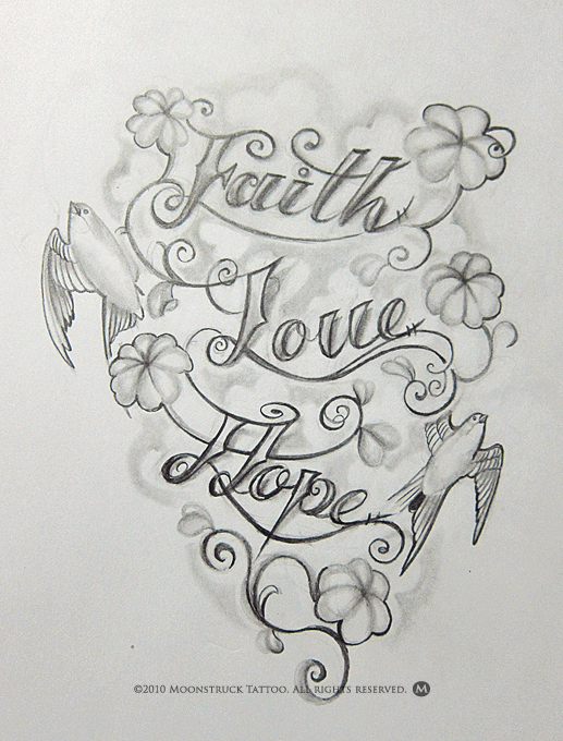 Faith Love Hope Tattoo Drawing
