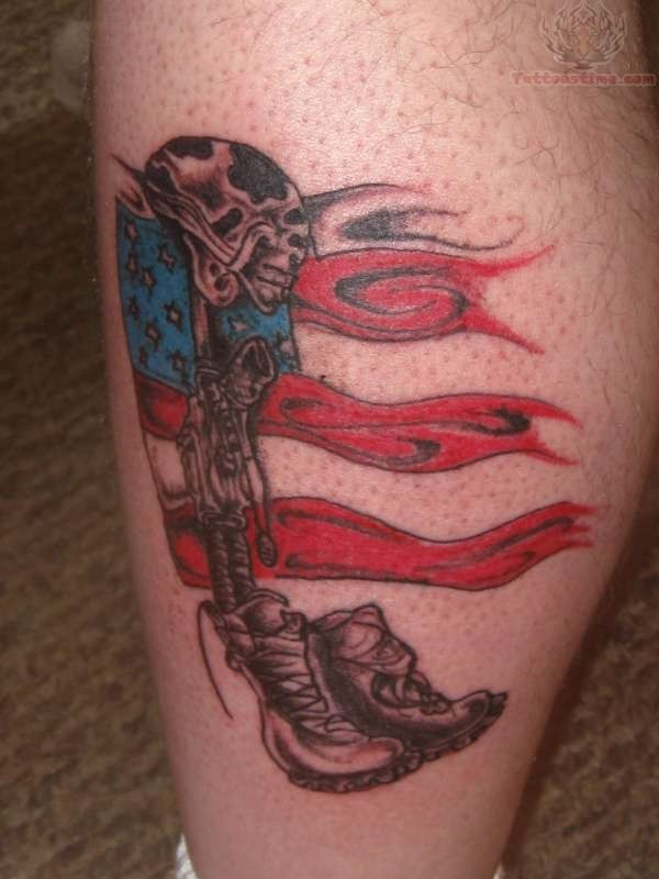 Fallen Soldier Memorial Army Tattoo On Leg