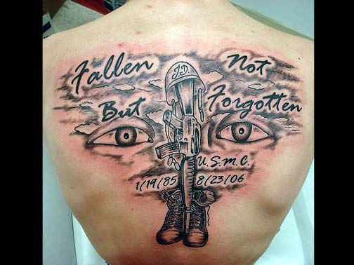 Fallen Soldier Military Tattoo For Back