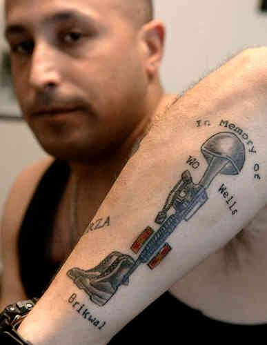 Fallen Soldier Military Tattoo On Arm