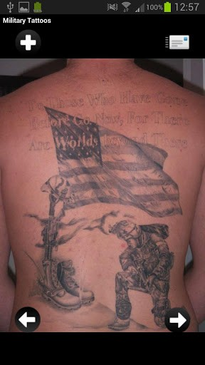 Fallen Soldier Military Tattoo On Back