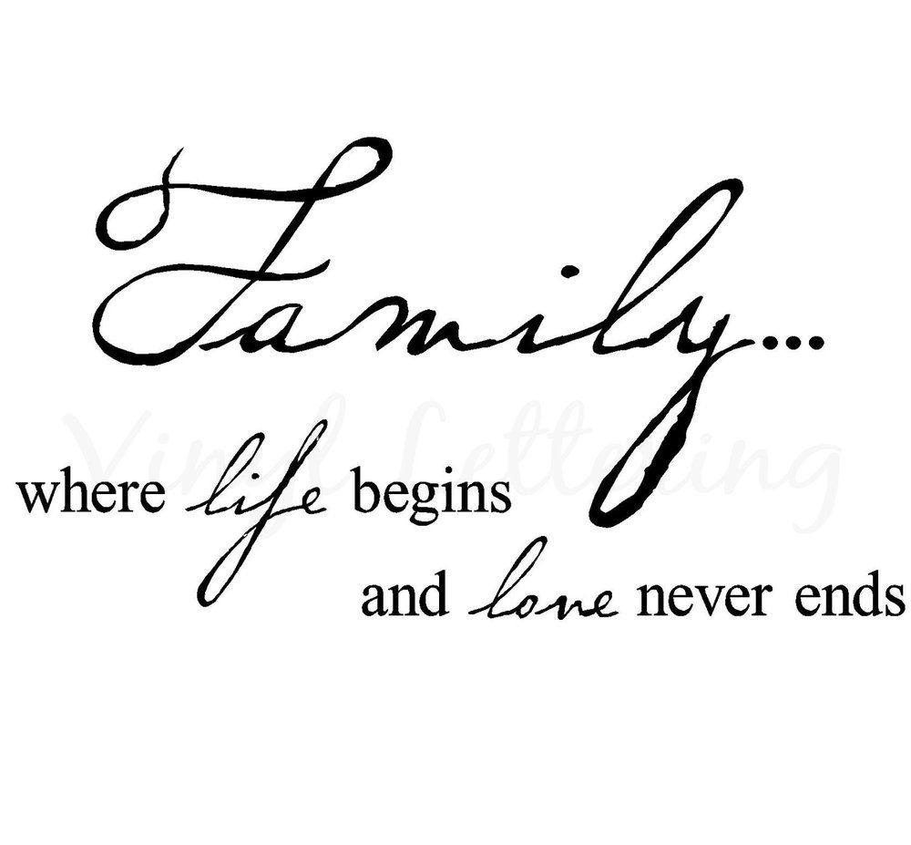 Family Where Life Begins And Love Never Ends Tattoo Design