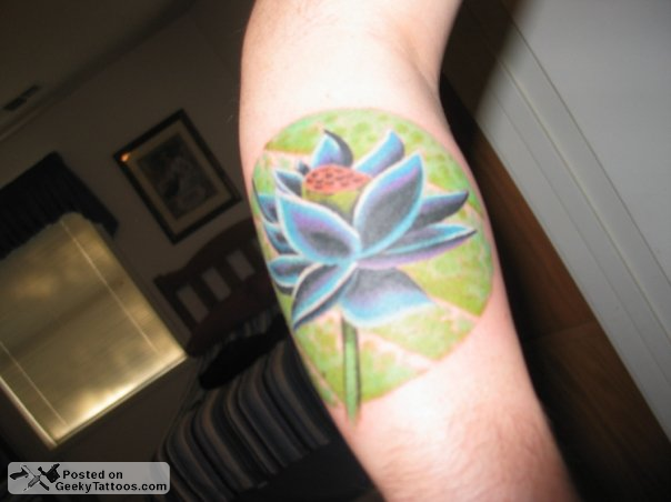 Fantastic Lotus Flower Tattoo On Arm