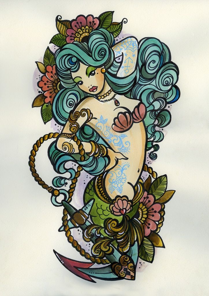 Floral Mermaid And Anchor Tattoo Design