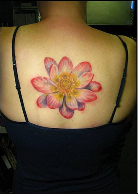 Flower Lotus Tattoo On Upper Back