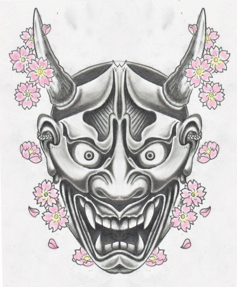 Flowers And Hannya Mask Tattoo Sketch