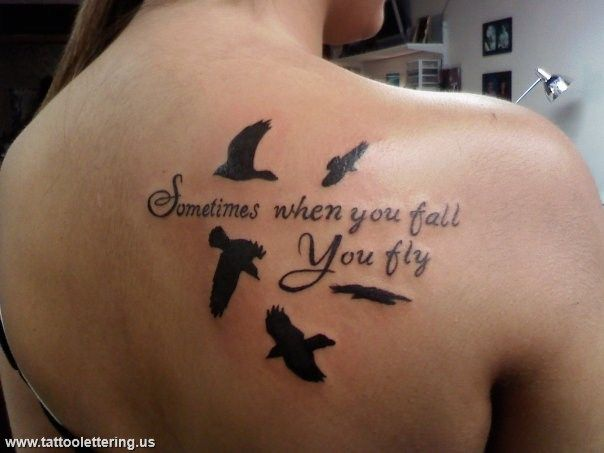 Flying Birds And Literary Tattoo On Back Shoulder