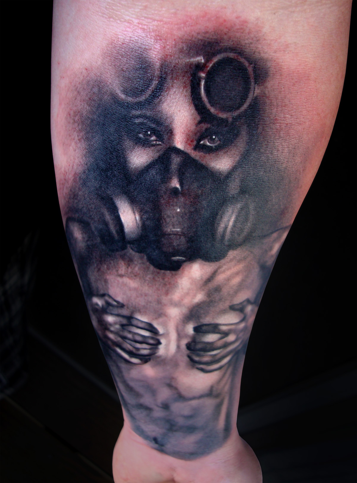 Gas Mask Girl Portrait Tattoo On Arm