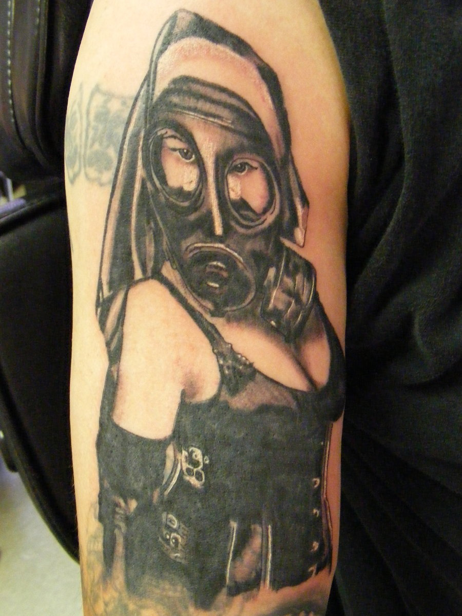 Gas Mask Girl Tattoo Design On Arm