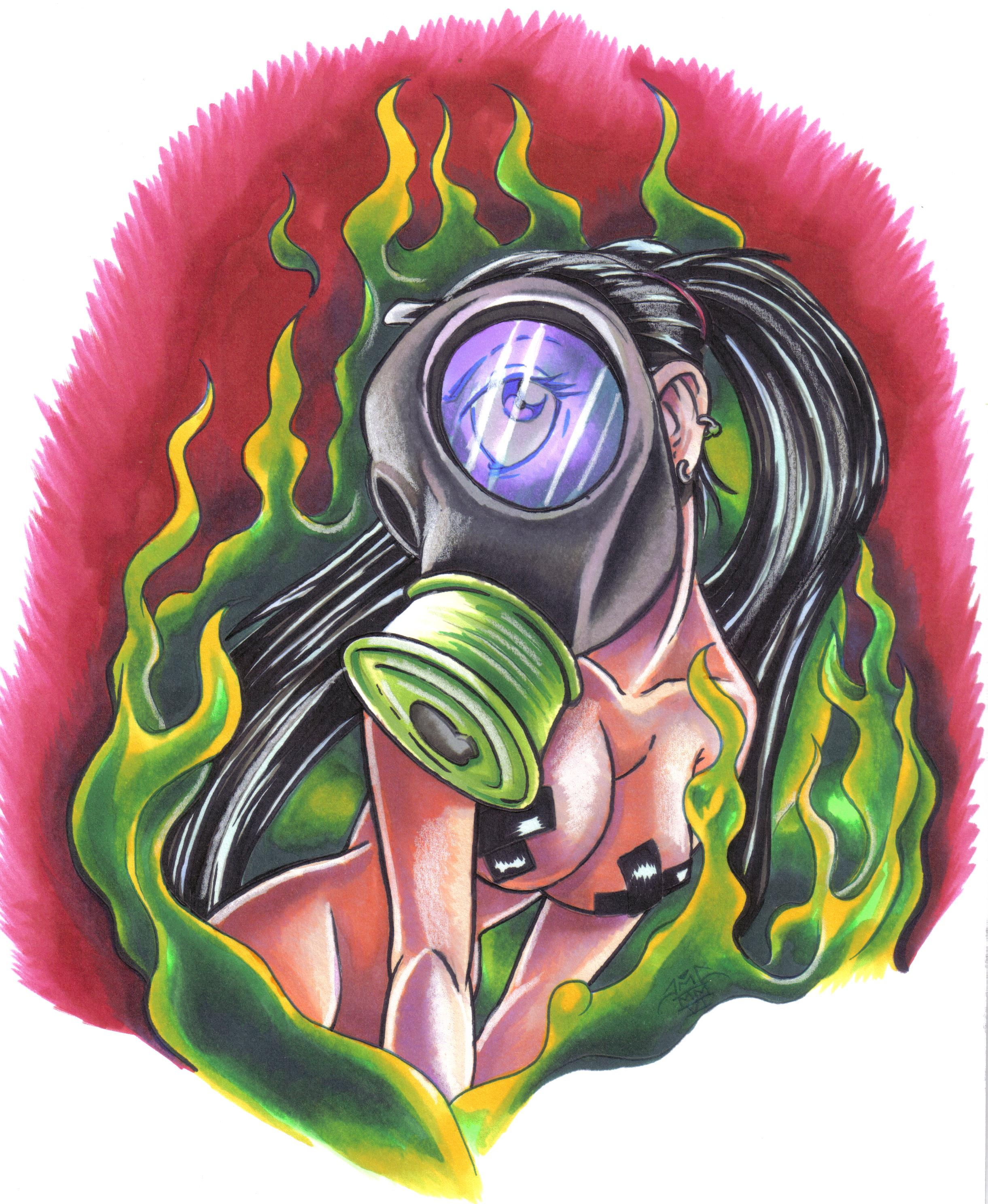 Gas Mask Girl Tattoo Image