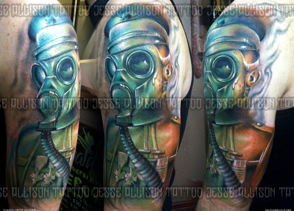 Gas Mask Sleeve Tattoo Design