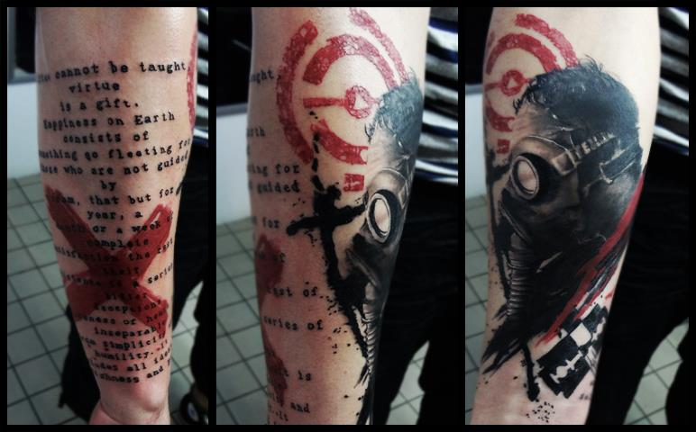 Gas Mask Tattoo On Leg Sleeve