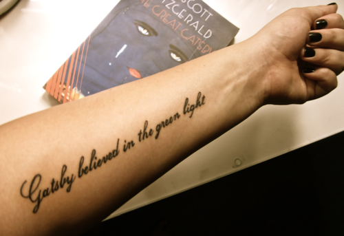 Gatsby Believed In The Green Light Literary Tattoo On Arm