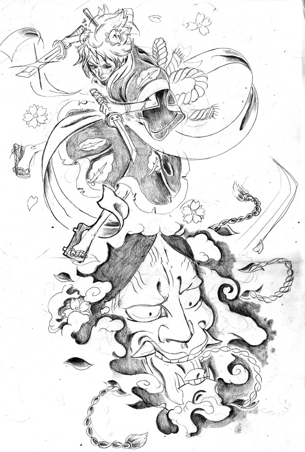 Geisha And Hannya Mask Tattoo Sketch