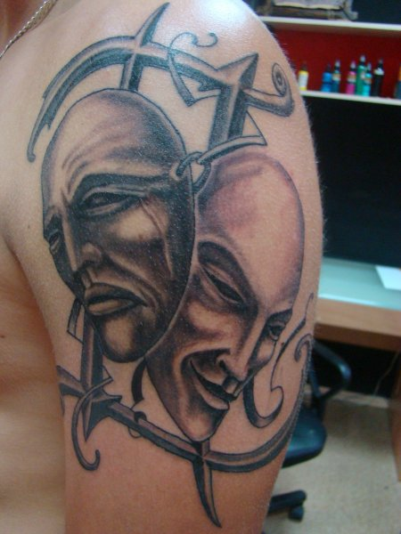 Gemini Symbol And Drama Masks Tattoos On Shoulder