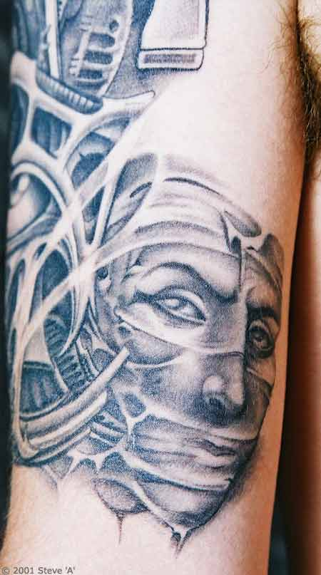 Grey Ink Egyptian Mask Tattoo Design