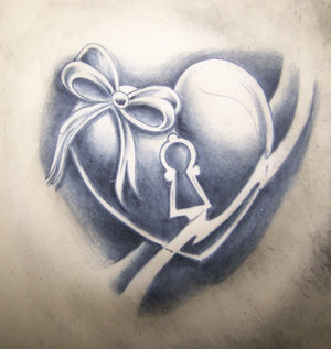 Grey Ink Love Heart Tattoo Design