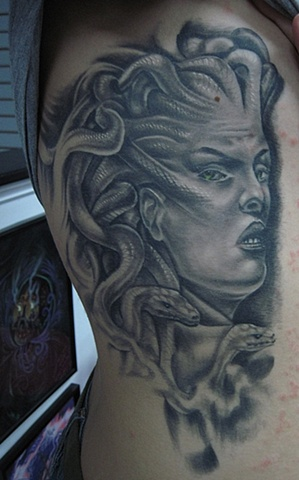 Grey Ink Medusa Tattoo On Side