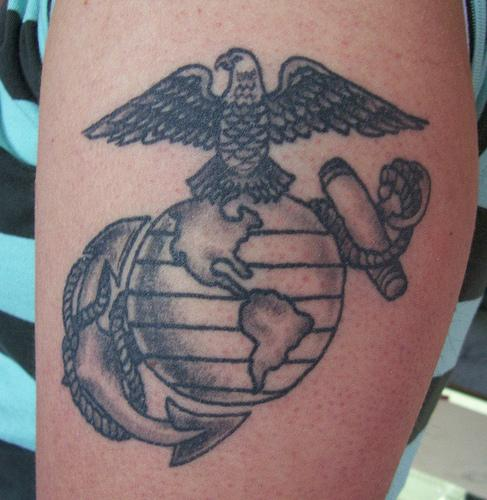 Grey Ink Military Eagle Globe Anchor Tattoo On Biceps