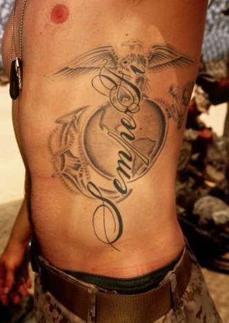 Grey Ink Military Tattoo On Rib Side