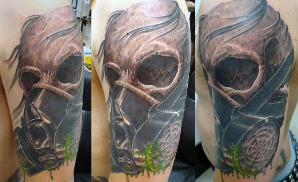 Half Sleeve Gas Mask Skull Tattoo Design