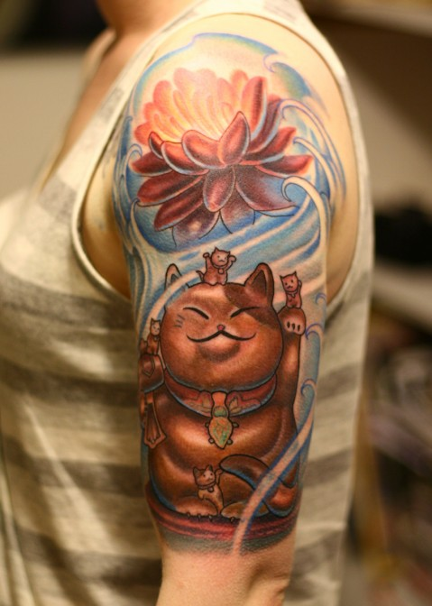 Half Sleeve Lotus Flower And Japanese Lucky Cat Tattoo Designs