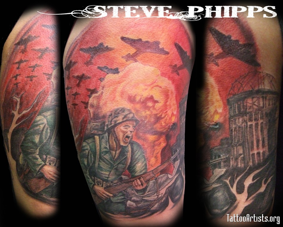 Half Sleeve Military War Tattoo Design