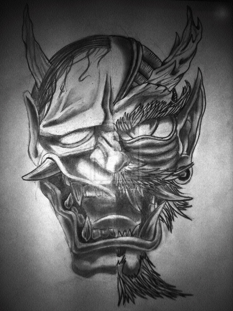 Hannya Dragon Oni Mask Tattoo Design