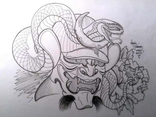 Hannya Mask And Snake Tattoo Sketch
