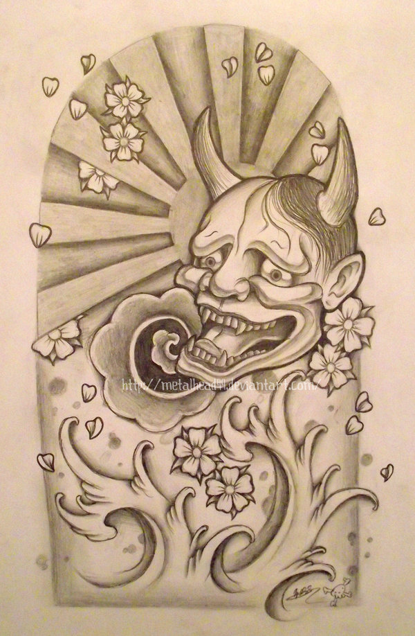 Hannya Mask And Waves Tattoo Design