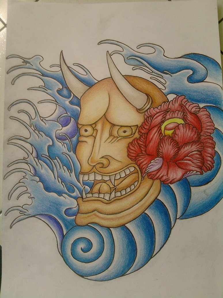 Hannya Mask And Waves Tattoo Flash