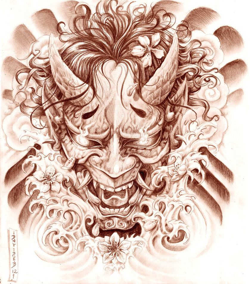 Hannya Mask And Waves Tattoo Picture