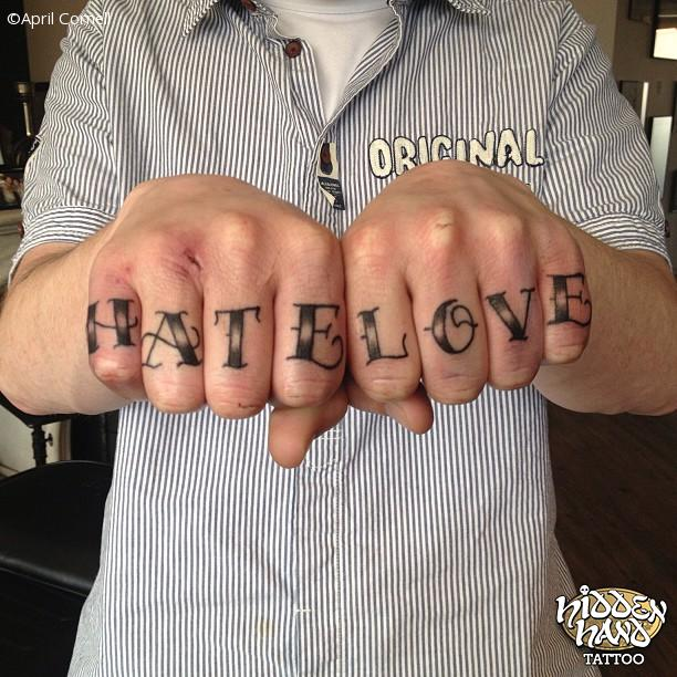 Hate Love Knuckle Tattoo Design