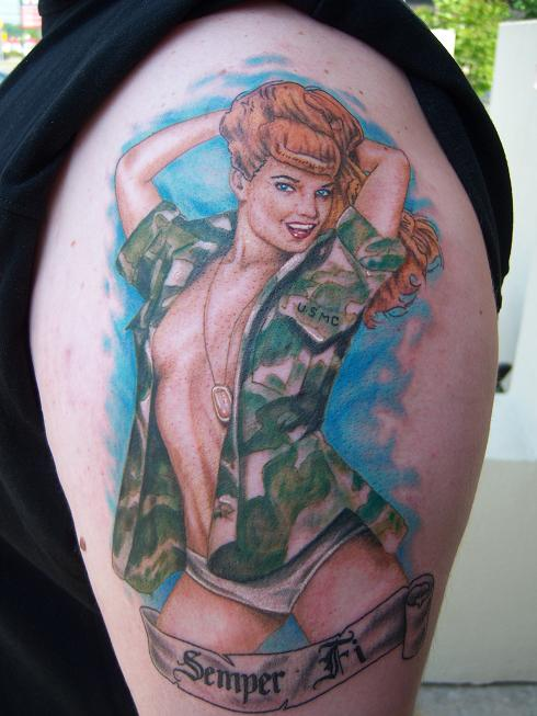 Hot Military Girl Tattoo On Shoulder