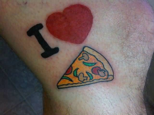 I Love Pizza Funny Tattoo Design