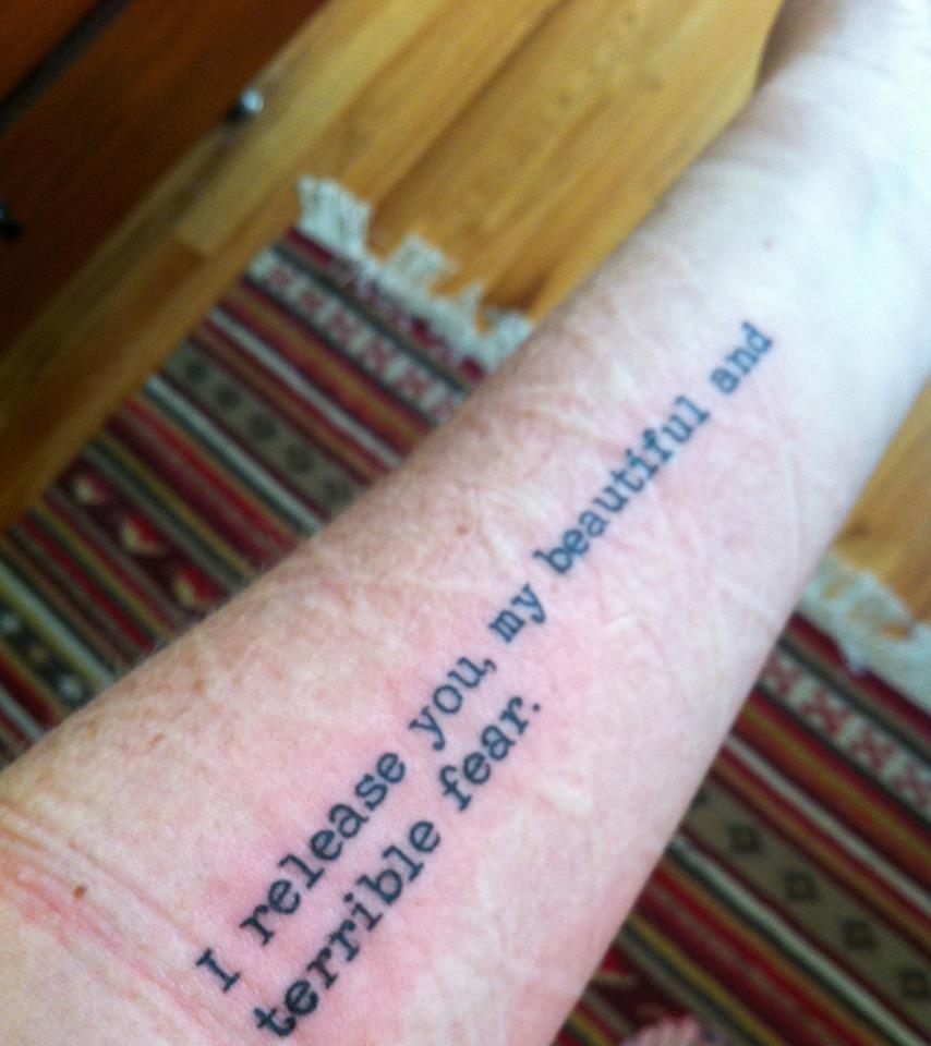 I Release You Literary Tattoo On Forearm