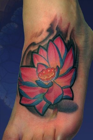 Impressive Lotus Flower Tattoo On Foot
