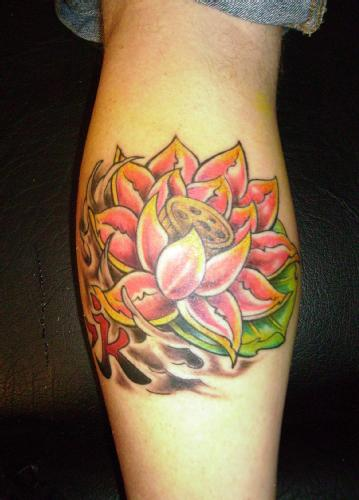 Impressive Lotus Flower Tattoo On Leg Calf
