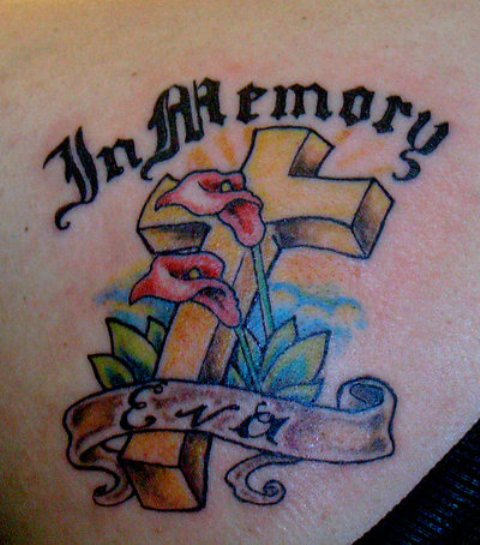 In Loving Memory Cross Tattoo