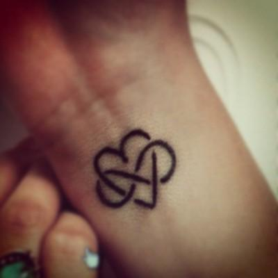 Infinity Love Heart Tattoo On Wrist
