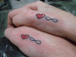 Infinity Symbol And Love Heart Tattoo Designs For Couple